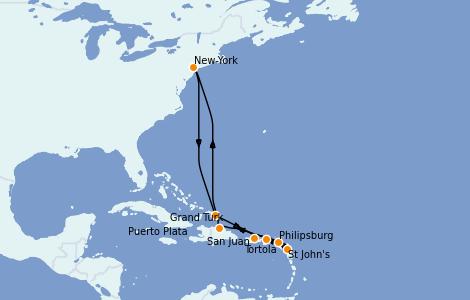 Itinerario del crucero Caribe del Este 11 días a bordo del Norwegian Gem