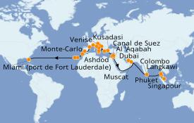 Itinerario de crucero Mediterráneo 53 días a bordo del Island Princess