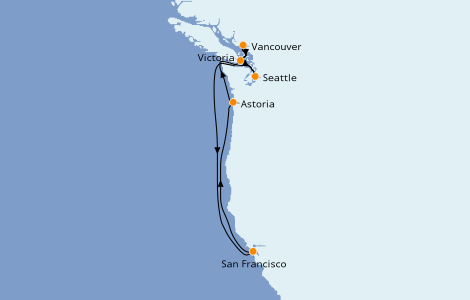 Itinerario del crucero Alaska 7 días a bordo del Ruby Princess