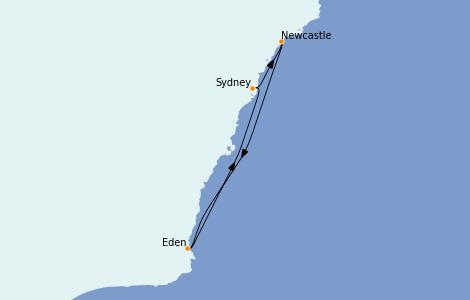 Itinerario del crucero Australia 2022 4 días a bordo del Radiance of the Seas