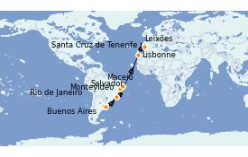Itinerario de crucero Trasatlántico y Grande Viaje 2022 18 días a bordo del MSC Orchestra