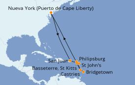 Itinerario de crucero Caribe del Este 13 días a bordo del Anthem of the Seas