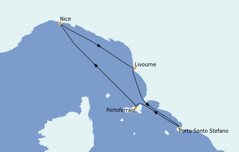 Itinerario del crucero Mediterráneo 7 días a bordo del Le Bougainville