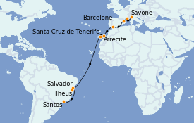 Itinerario de crucero Mediterráneo 20 días a bordo del Costa Toscana