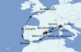 Itinerario de crucero Mediterráneo 15 días a bordo del Queen Elizabeth
