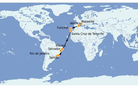 Itinerario del crucero Trasatlántico y Grande Viaje 2022 16 días a bordo del MSC Seaside