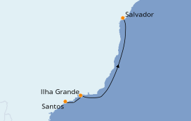Itinerario de crucero Suramérica 4 días a bordo del MSC Seaview