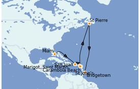 Itinerario de crucero Caribe del Este 9 días a bordo del Seabourn Odyssey