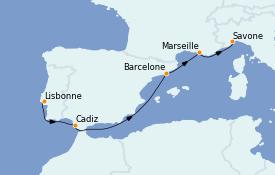 Itinerario de crucero Mediterráneo 6 días a bordo del Costa Favolosa