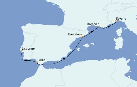 Itinerario del crucero Mediterráneo 5 días a bordo del Costa Favolosa