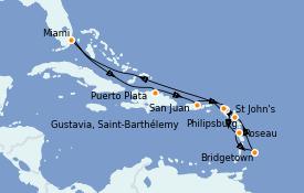 Itinerario de crucero Caribe del Este 12 días a bordo del Seven Seas Navigator