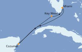 Itinerario de crucero Caribe del Oeste 5 días a bordo del Carnival Sensation