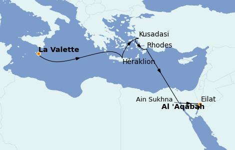 Itinerario del crucero Grecia y Adriático 10 días a bordo del Le Champlain