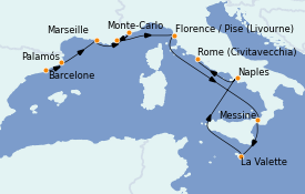 Itinerario de crucero Mediterráneo 11 días a bordo del MS Nautica