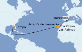 Itinerario de crucero Trasatlántico y Grande Viaje 2021 15 días a bordo del Rhapsody of the Seas