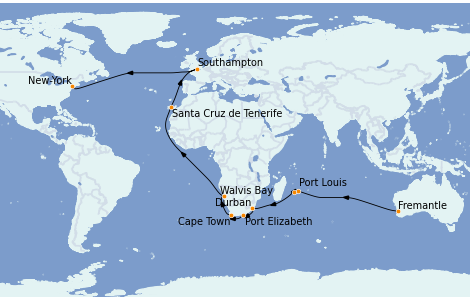 Itinerario del crucero Australia 2023 40 días a bordo del Queen Mary 2