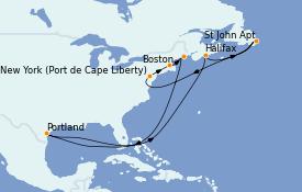 Itinerario de crucero Canadá 10 días a bordo del Adventure of the Seas