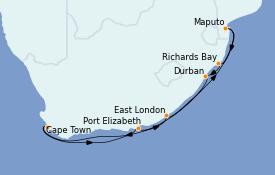Itinerario de crucero África 13 días a bordo del Azamara Journey
