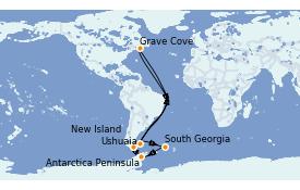 Itinerario de crucero Exploración polar 17 días a bordo del L'Austral