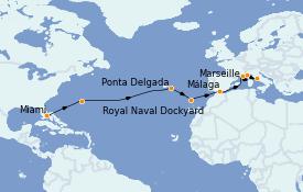 Itinerario de crucero Mediterráneo 17 días a bordo del MS Marina