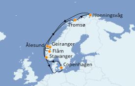 Itinerario de crucero Fiordos y Noruega 12 días a bordo del Jewel of the Seas