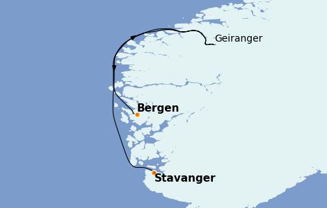 Itinerario del crucero Fiordos y Noruega 8 días a bordo del MS World Explorer
