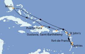 Itinerario de crucero Caribe del Este 11 días a bordo del MS Riviera
