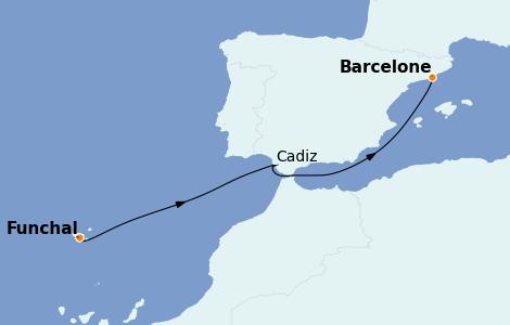 Itinerario del crucero Mediterráneo 4 días a bordo del MSC Meraviglia