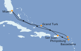 Itinerario de crucero Caribe del Este 9 días a bordo del Carnival Freedom