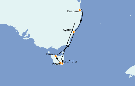 Itinerario del crucero Australia 2023 10 días a bordo del Coral Princess