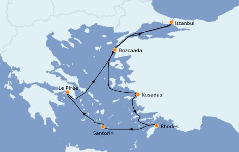 Itinerario del crucero Grecia y Adriático 7 días a bordo del Seven Seas Splendor