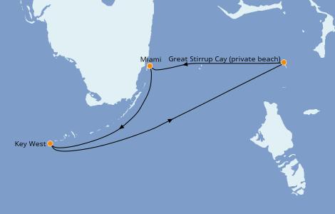 Itinerario del crucero Caribe del Este 3 días a bordo del Norwegian Pearl