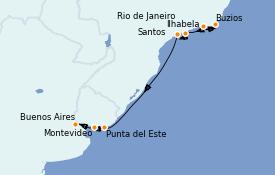 Itinerario de crucero Suramérica 10 días a bordo del Celebrity Infinity