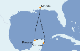 Itinerario de crucero Caribe del Oeste 6 días a bordo del Carnival Sensation