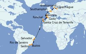 Itinerario de crucero Trasatlántico y Grande Viaje 2022 24 días a bordo del MSC Preziosa