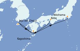 Itinerario de crucero Asia 6 días a bordo del Diamond Princess