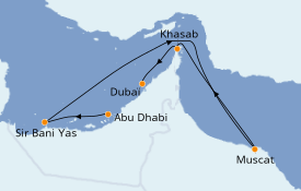 Itinerario de crucero Dubái 7 días a bordo del MSC Bellissima