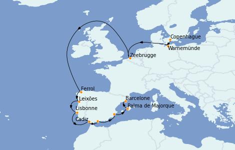 Itinerario del crucero Mediterráneo 13 días a bordo del MSC Poesia