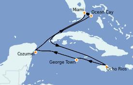 Itinerario de crucero Caribe del Oeste 15 días a bordo del MSC Seashore