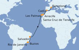 Itinerario de crucero Trasatlántico y Grande Viaje 2019 17 días a bordo del Costa Fascinosa