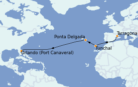 Itinerario de crucero Trasatlántico y Grande Viaje 2022 13 días a bordo del Jewel of the Seas