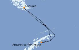 Itinerario de crucero Exploración polar 12 días a bordo del L'Austral