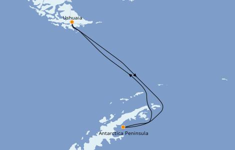 Itinerario del crucero Exploración polar 11 días a bordo del L'Austral