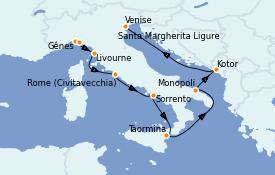 Itinerario de crucero Mediterráneo 12 días a bordo del Azamara Journey