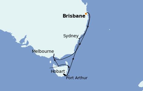 Itinerario del crucero Australia 2022 11 días a bordo del Coral Princess