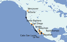 Itinerario de crucero Riviera Mexicana 17 días a bordo del ms Oosterdam