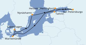 Itinerario de crucero Mar Báltico 10 días a bordo del Norwegian Escape