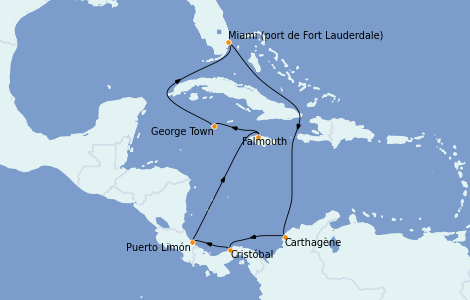 Itinerario del crucero Caribe del Oeste 10 días a bordo del Caribbean Princess
