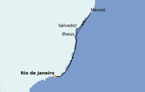 Itinerario del crucero Suramérica 7 días a bordo del MSC Preziosa