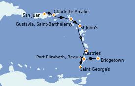 Itinerario de crucero Caribe del Este 8 días a bordo del Silver Dawn